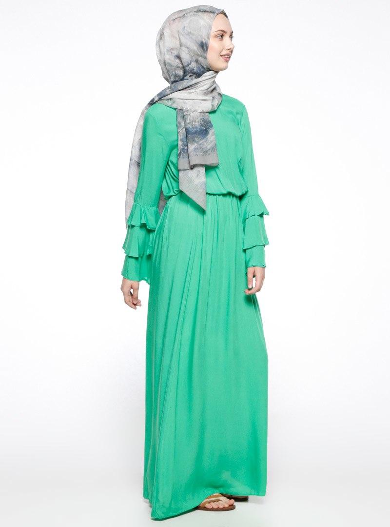 Hibiscus flower dress blacklight pink hijab club wave trim layered sleeve mint dress izmirmasajfo