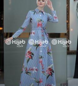 df805bd8d9d Floral and Stripes Print Button Split Maxi Dress – Blue