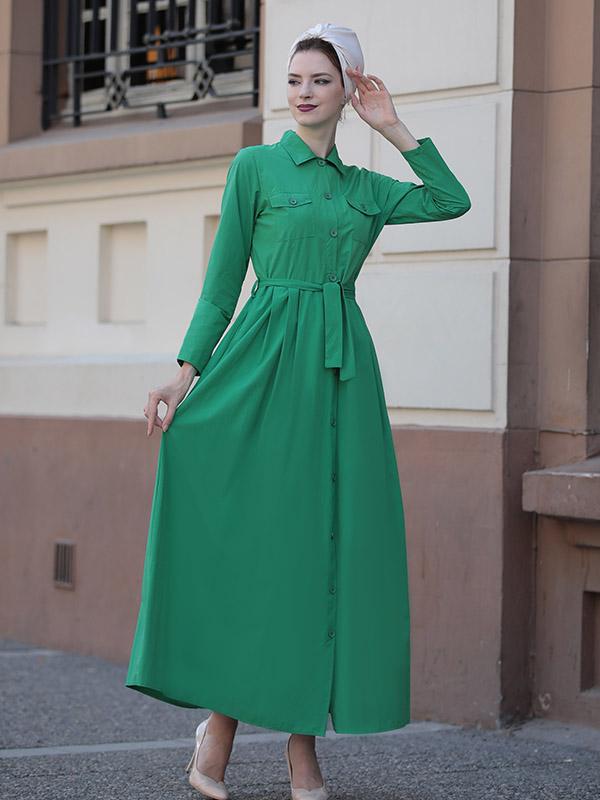 Long Sleeve Pocket Maxi Dress - Green - Hijab Club